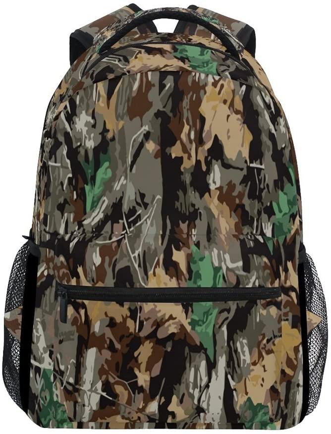 ALAZA Stylish Camouflage and Leaves Durable Backpack Book College School Travel Backbag Shoulder Bag for Women Girls Men Boys