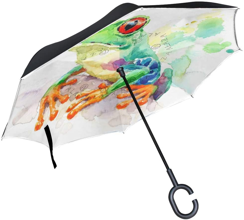 Double Layer Inverted Umbrellas Reverse Folding Umbrella Frog Windproof for Car Rain Outdoor with C-Shaped Handle