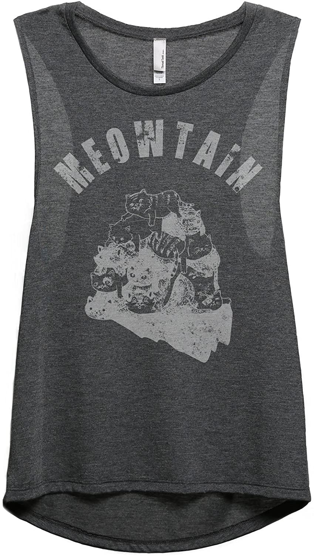 Meowtain Cat Women's Fashion Sleeveless Muscle Tank Top Tee