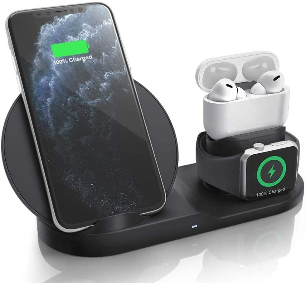 Wireless Charger, 3 in 1Charging Station for Multiple Devices, Magnetic Charging Base for Phone, Watch & Headphones, Compatible with Apple Products (Black)