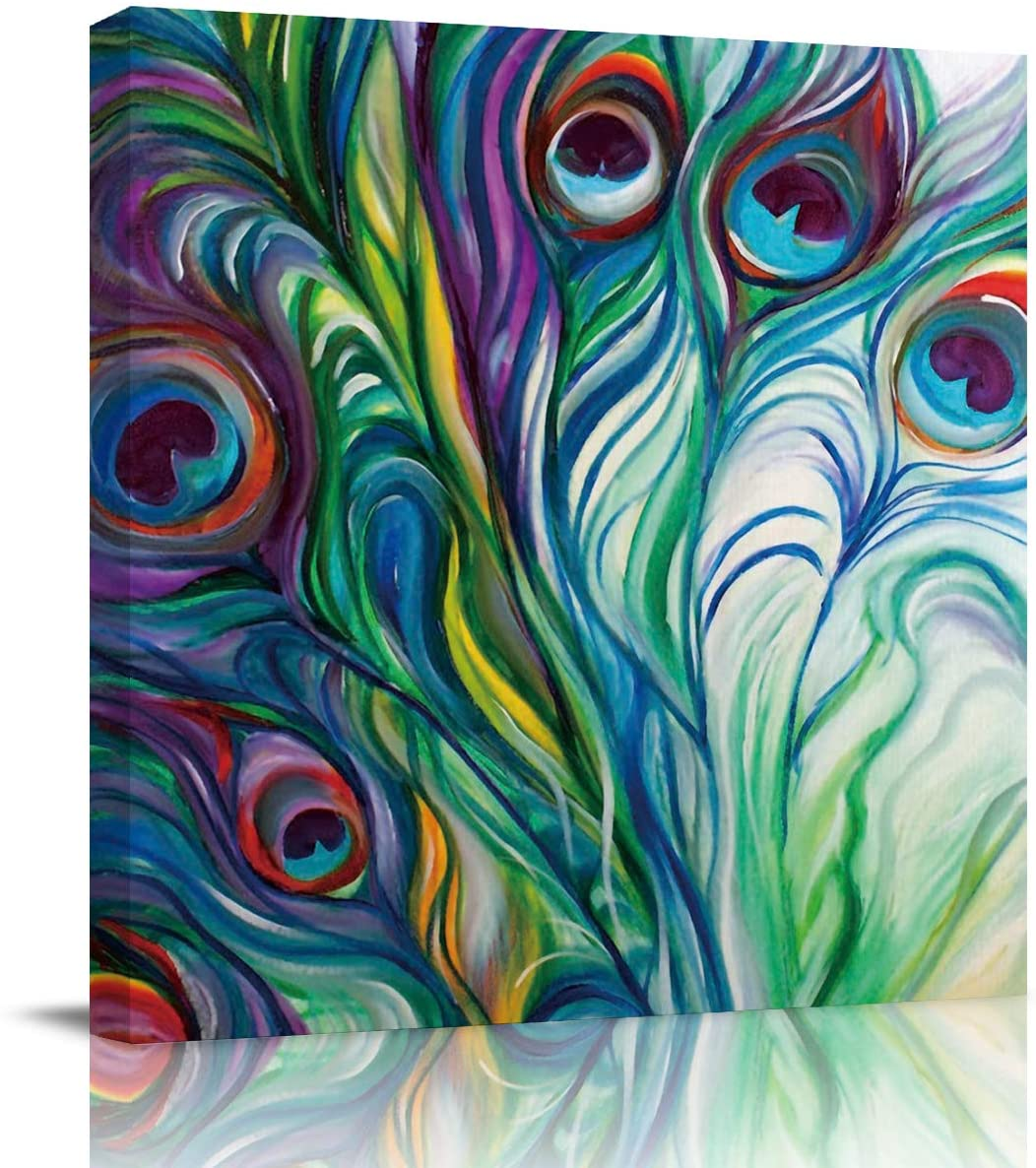 Square Canvas Wall Prints Art for Living Room Bedroom 12x12 inch - Abstract Ink Peacock Feather Poster Artwork Picture Painting Ready to Hang for Home Bathroom Kitchen Office Decoration