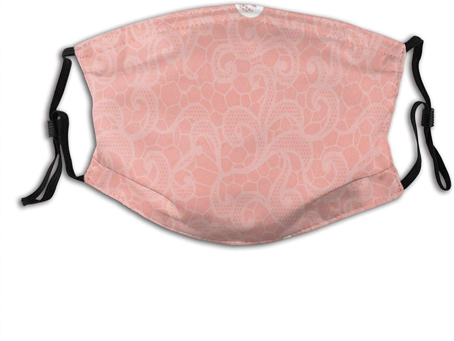 Lace Design On Soft Colored Pink Adjustable Face Mask With Filter Pocket Washable Reusable Face Bandanas Balaclava With 2 Pcs Filters
