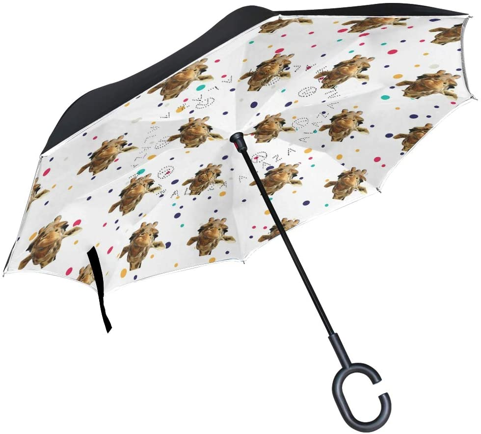 DKRetro Double Layer Africa Giraffe Inverted Umbrellas- Reverse Folding Umbrella for Car, C-Shaped Handle Umbrella with Light Reflection Strip
