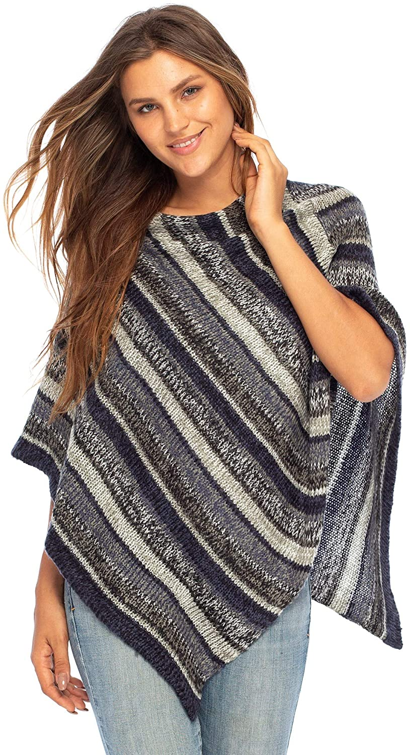 Back From Bali Womens Colorful Knit Poncho Sweater Cape Soft Striped Boho Tunic Shawl