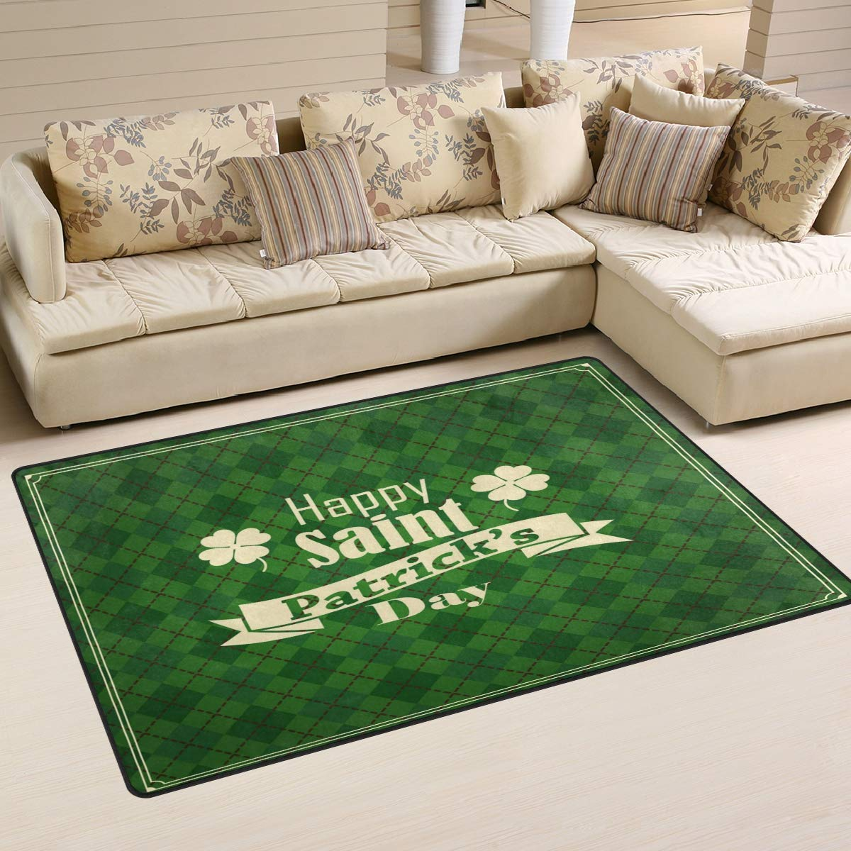 ALAZA Home Decor Happy Saint Patrick's Day On Green Geometric Background Area Rug Carpet, Rugs Floor Carpet Mat Living Room Carpet for Girl's Room Home Indoor Decor 3'x5'