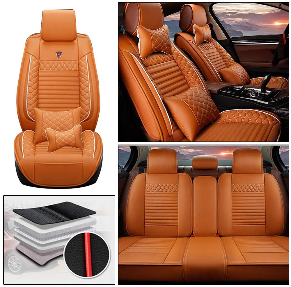 Handao-US Luxury Car Seat Covers for Subaru Impreza 5-seat Full Set All Weather Waterproof Protection Easy Install(Airbag Compatible) Orange