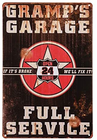 dingleiever-Grandfather's Garage Sign Gift for The Grandad who has Everything Best Grandpa Gift from his Grandson or Granddaughter Gramp's Garage Full Service Sign Open 24hour