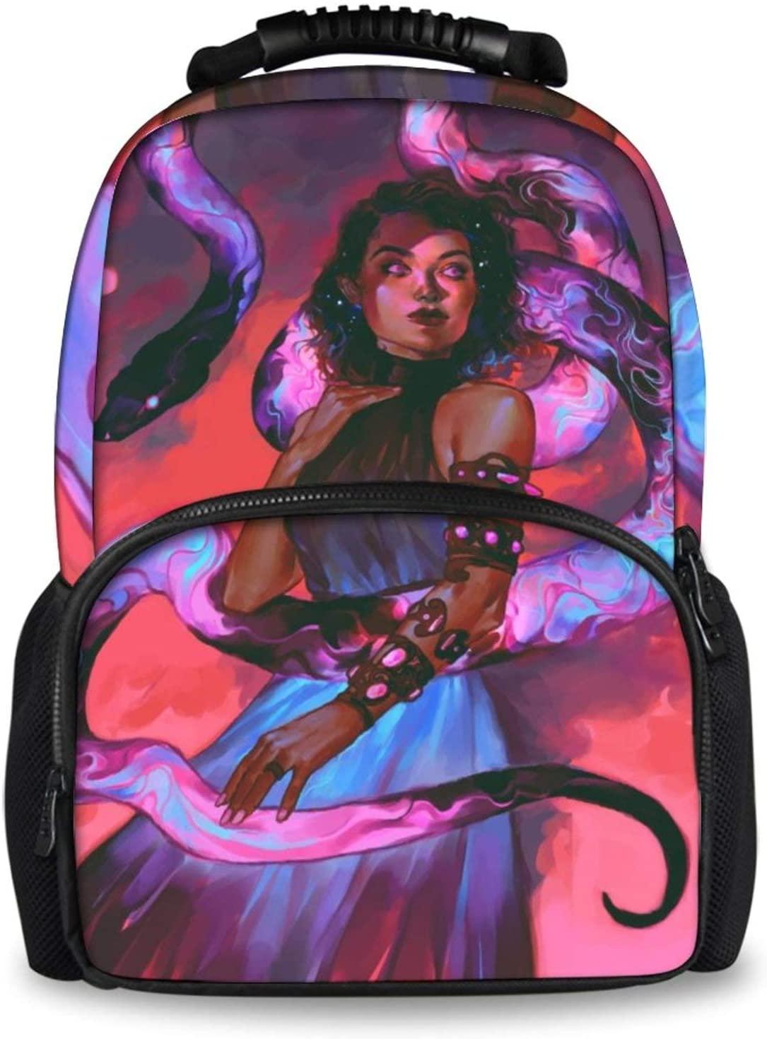 NiYoung Hiking Work Walking Cycling Backpack Daypack Durable Polyester Multipurpose Anti-Theft Backpack Big Capacity Bookbag, Beautiful Snake Lady Art