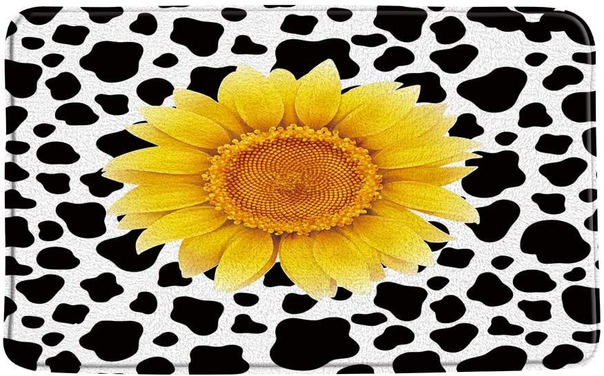 XZMAN Sunflower Bath Mat Black White Funny Milk Cow Print Pattern Yellow Flower Farm Animal Skin Creative Bathroom Rug Decor,Bedroom Kitchen Toilet Rug,Soft Memory Foam Non Slip Backing,20x31 Inch