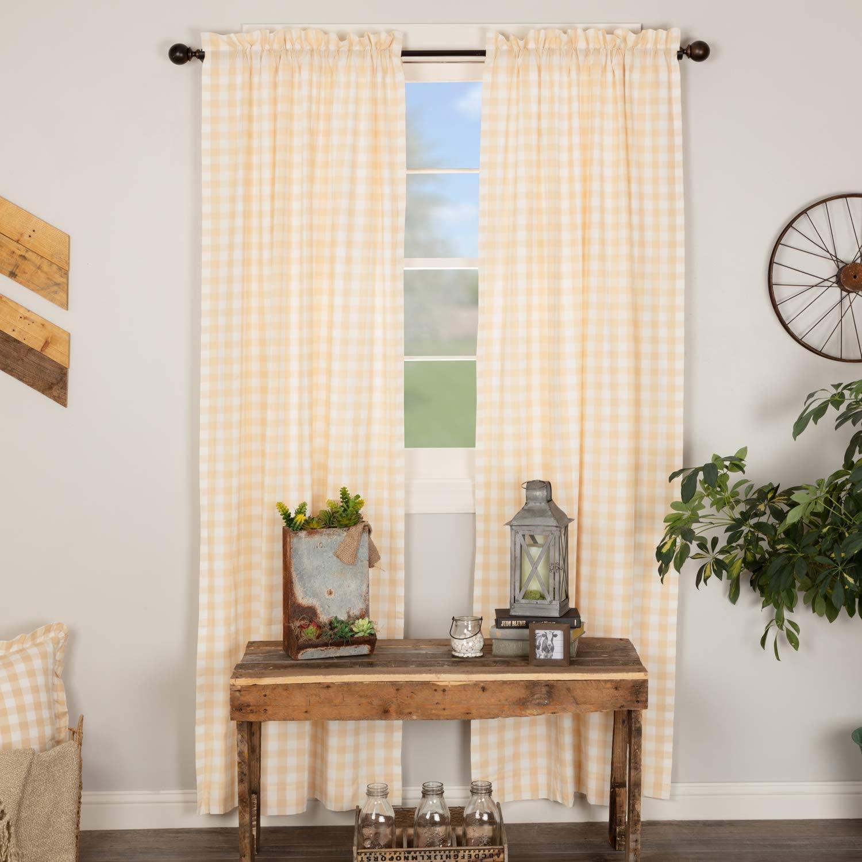 VHC Brands Annie Buffalo Check Panel Set Farmhouse Cotton Window Treatment for Living Room Curtain, 84x40, Tan