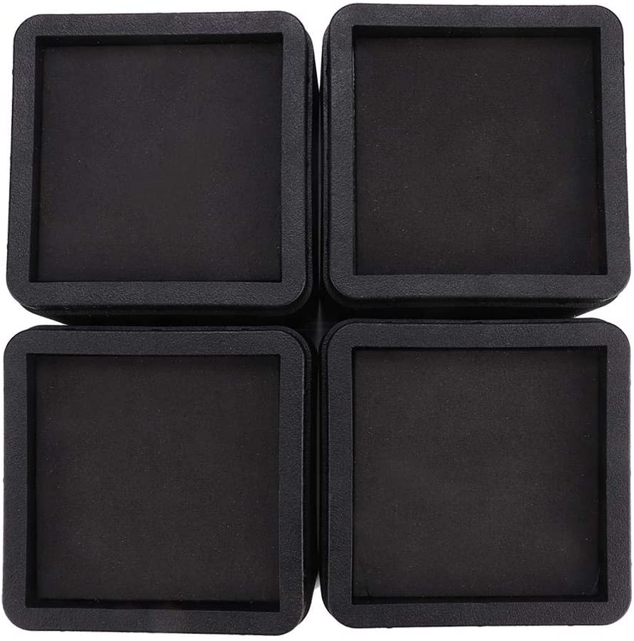 4PCS Durable Stackable Bed Risers Black Square Moisture-Proof Insect-Proof Furniture Legs Risers for Sofa, Table, and Chair (3.3, 4Pcs)