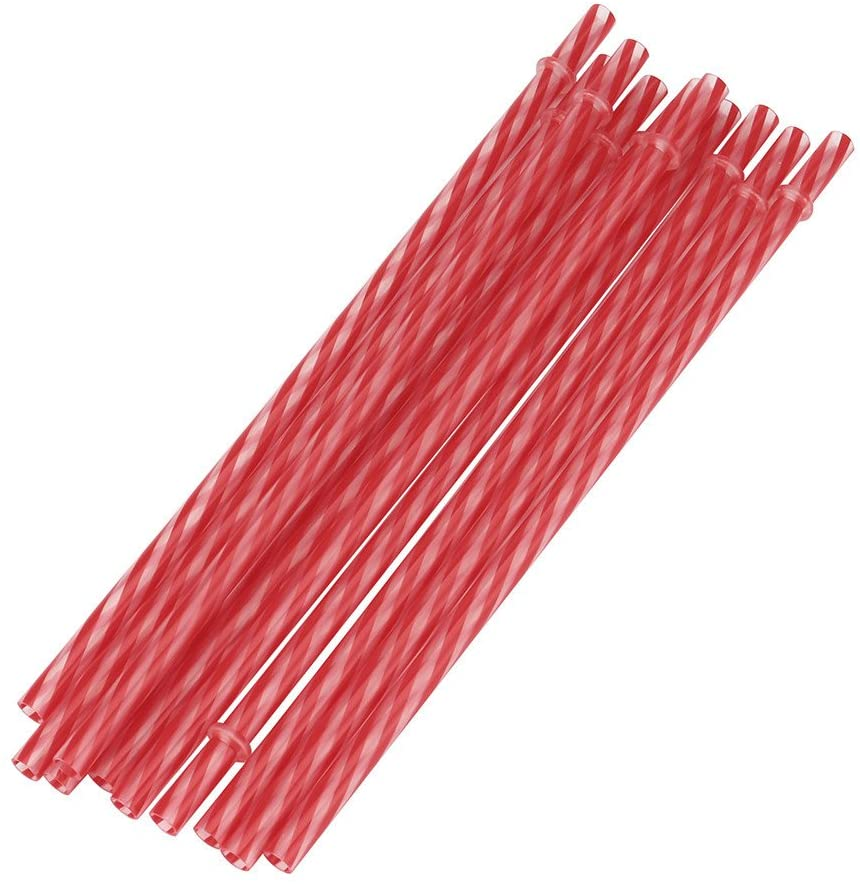 Haokanba 10 Piece- Reusable Hard Plastic Straws. BPA-Free, 9 Inch Long Stripe Drinking Straws, Outer Diameter 0.28 Inch for Party Supplies   Birthday   Wedding