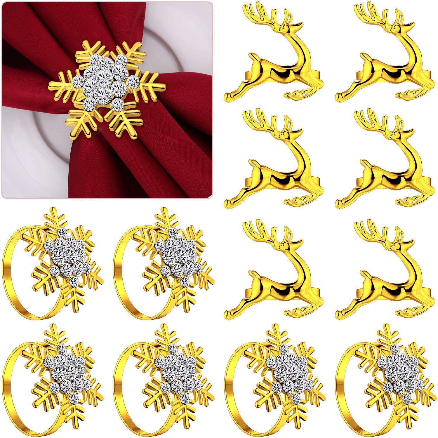 12 Pieces Christmas Napkin Rings Set, 6 Pieces Elk Chic Napkin Rings and 6 Pieces Rhinestone Snowflake Napkin Rings for Christmas Wedding Birthday Party Supplies (Gold)
