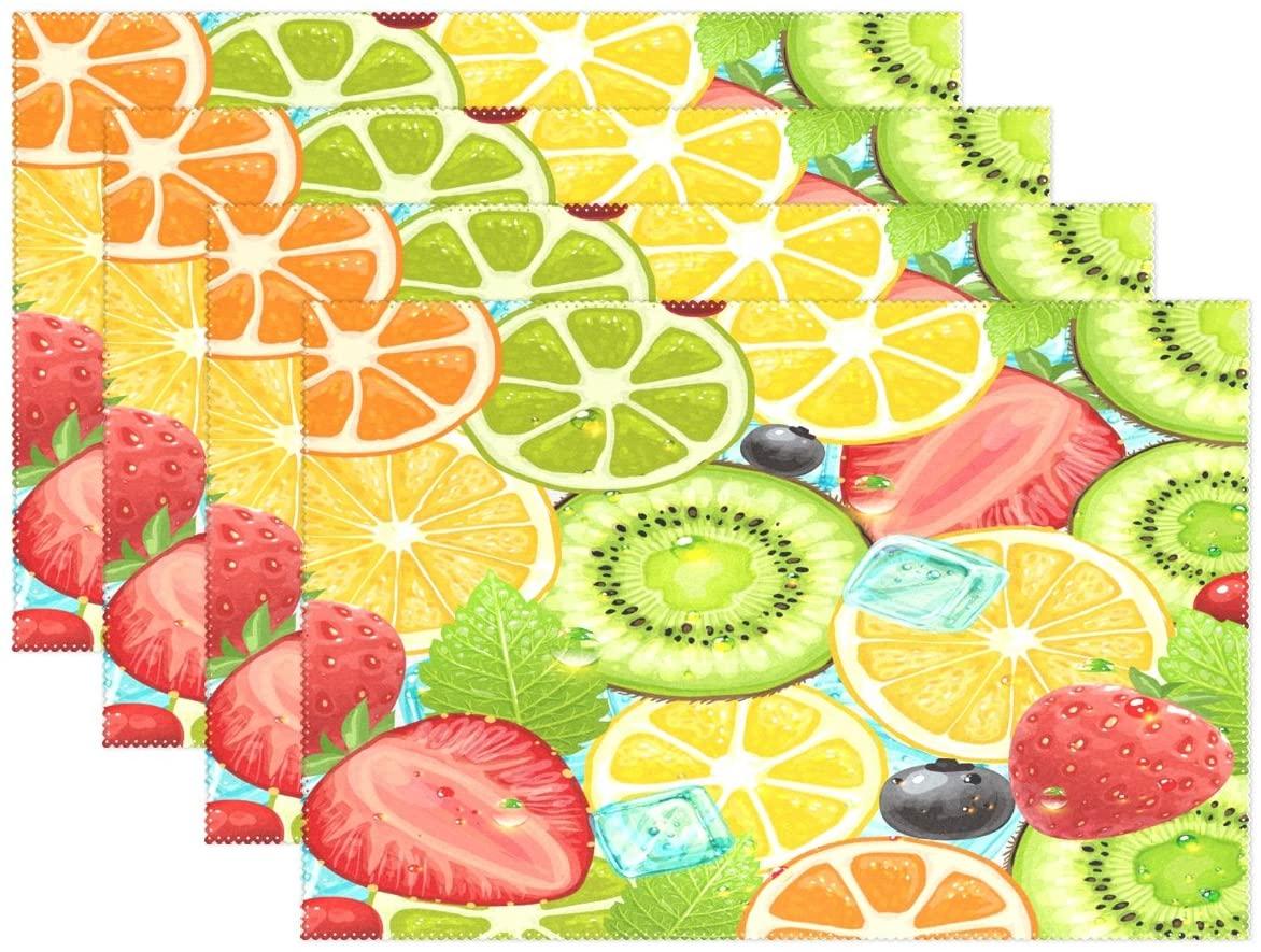 WOZO Summer Fruit Strawberry Lemon Placemat Table Mat 12