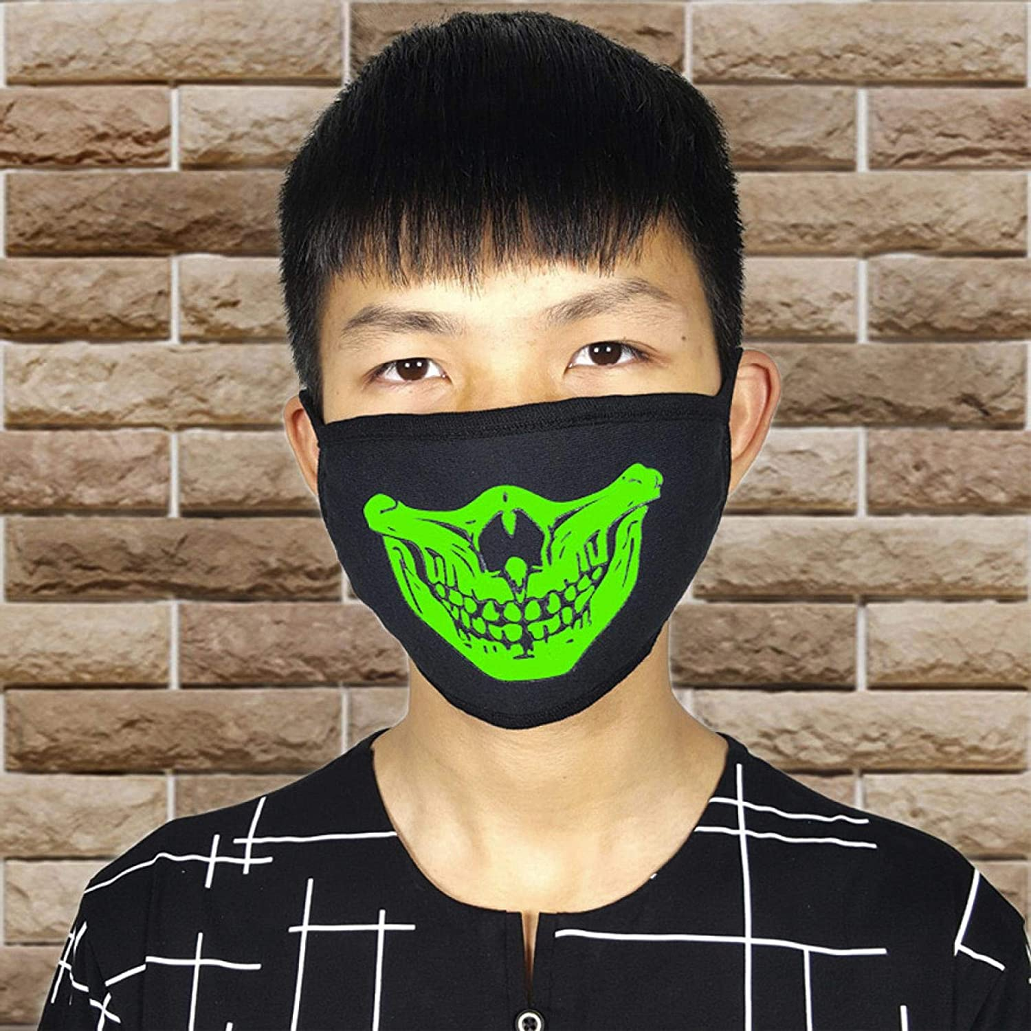 Black Halloween Party Luminous Ghost Skull Half Face Scary Horror Face,Halloween Decorations Face (Black A)