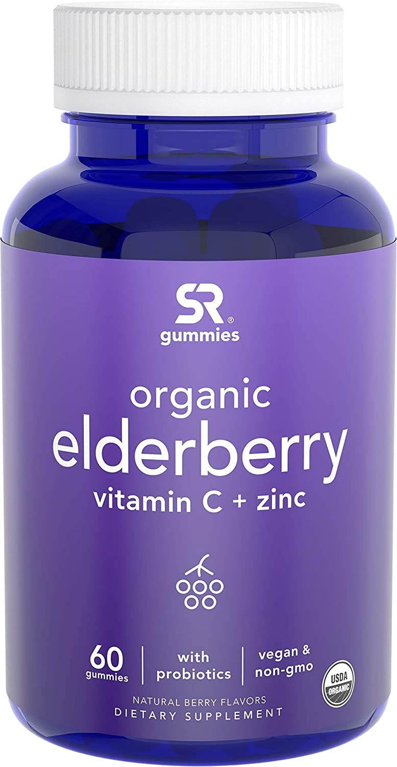 Elderberry Gummies with Vitamin C & Zinc for Immune Support | USDA Organic, Vegan Certified & Non-GMO Verified (60 Vegan Gummies)