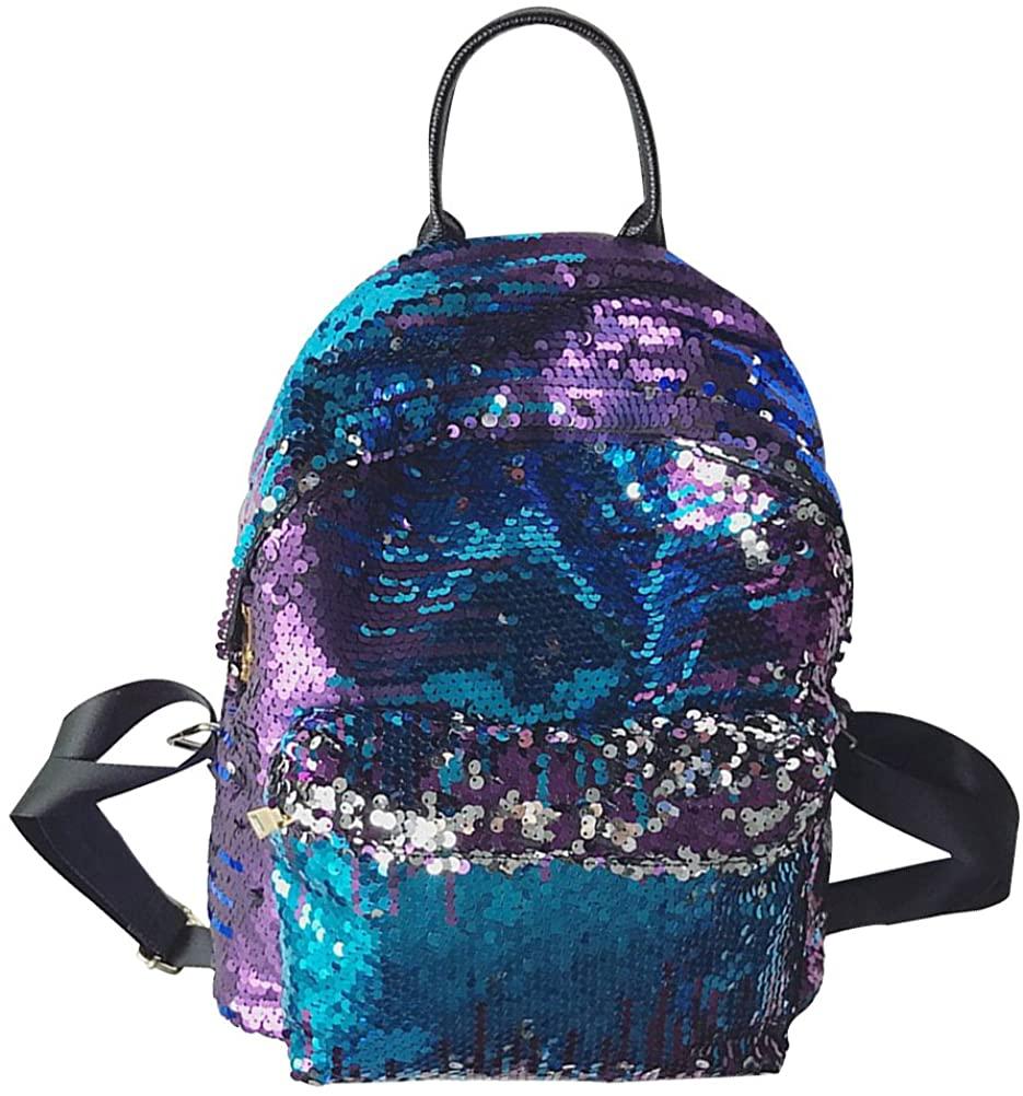 OULII Fashion Backpack Girl Women Bling Sequin Backpack Shoulder Bag Casual Daypacks (Blue)