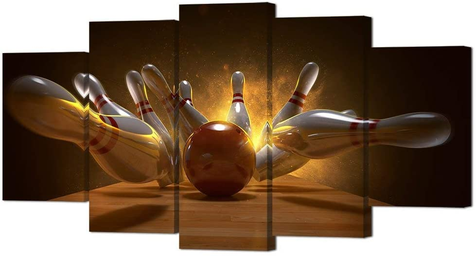VVOVV Wall Decor 5 Piece Canvas Prints Bowling Wall Art 3D Rendering Bowling Ball Bowling Pins Poster Picture Prints on Canvas Painting for Bowling Club Gym Decoration Stretched Ready to Hang