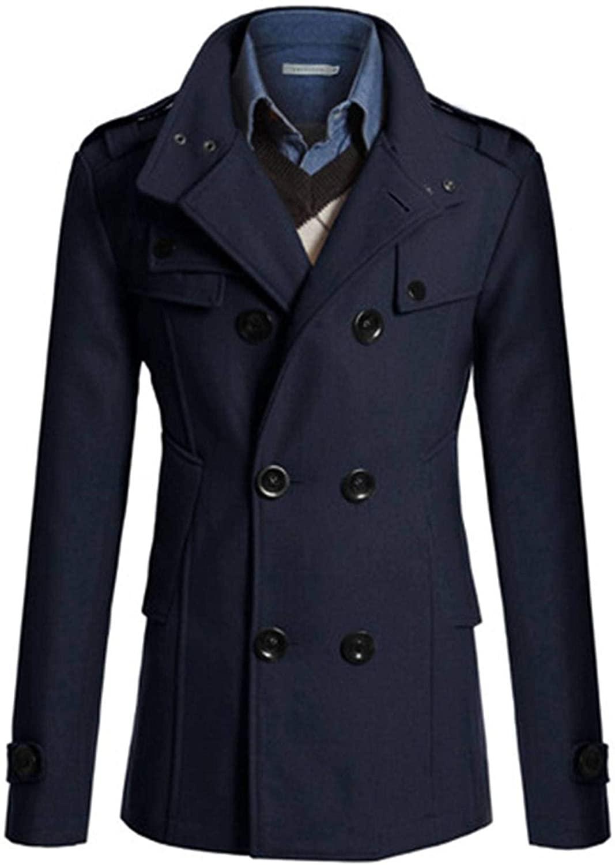 Soluo Men's Winter Woolen Coat Slim Fit Double Breasted Wool Trench Business Jacket Outwear