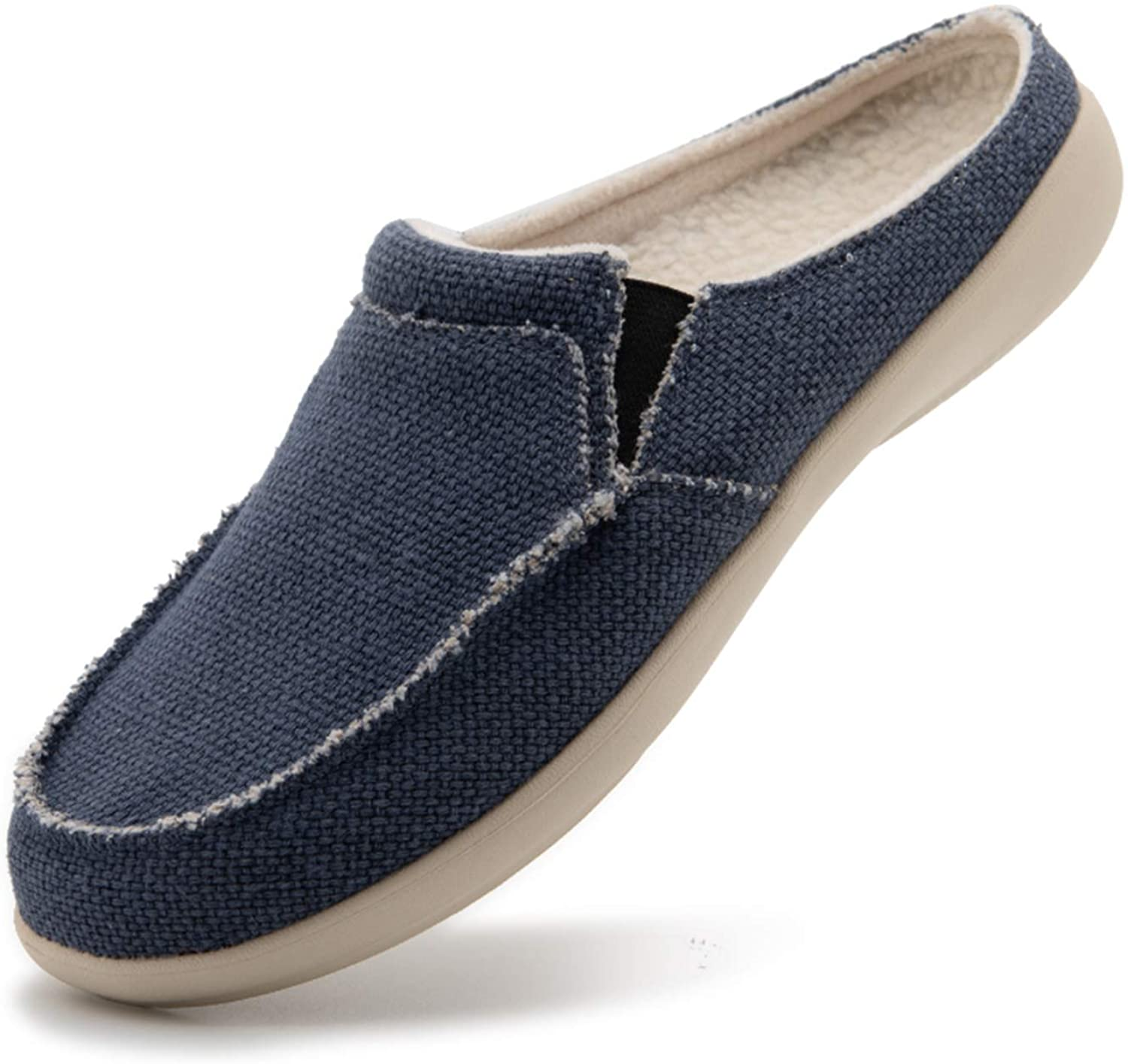 Mens Comfy Warm Canvas Orthopedic Slippers with Arch Support,Velvet Lining,Size:7-14