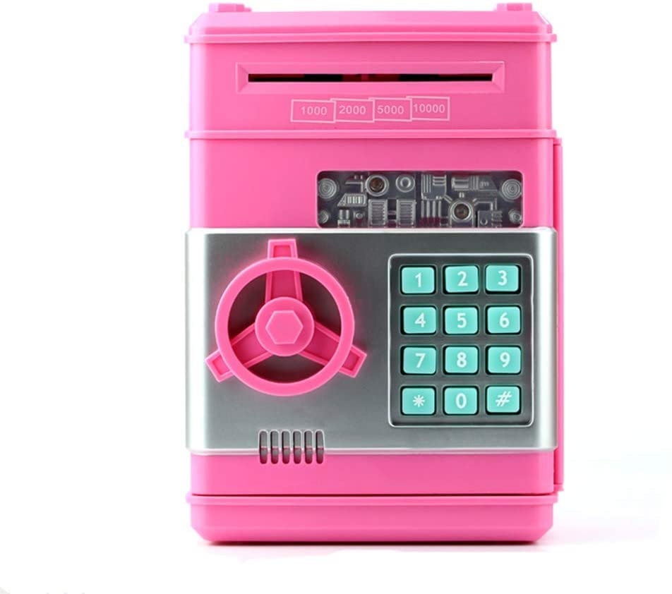 NBSXR Electronic Password Piggy Bank, Kids Safe Bank Mini ATM Electronic Money Save Box Cash Coin Can, Auto Insert Bills, Great for Kids/Pink