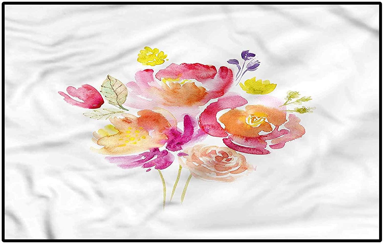 Pastel Children Boys Girls Bedroom Rugs Watercolor Rose Bouquet Kids Room Carpets Cute Children Play Mat Kids 6.5 x 9.8 Ft