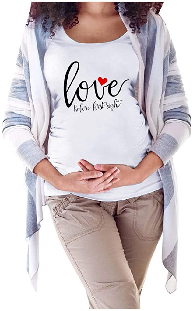 Maternity Christmas Clothes,Maternity Women Short Sleeve Tops Blouse Letter Print Shirt Valentine's Day