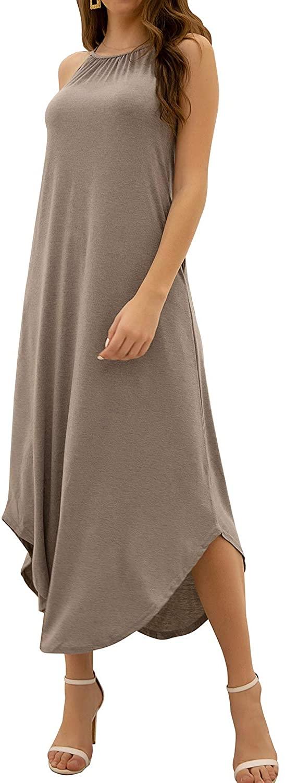 Alice CO Women's Summer Casual Sleeveless Loose Beach Long Cami Maxi Dress with Pockets