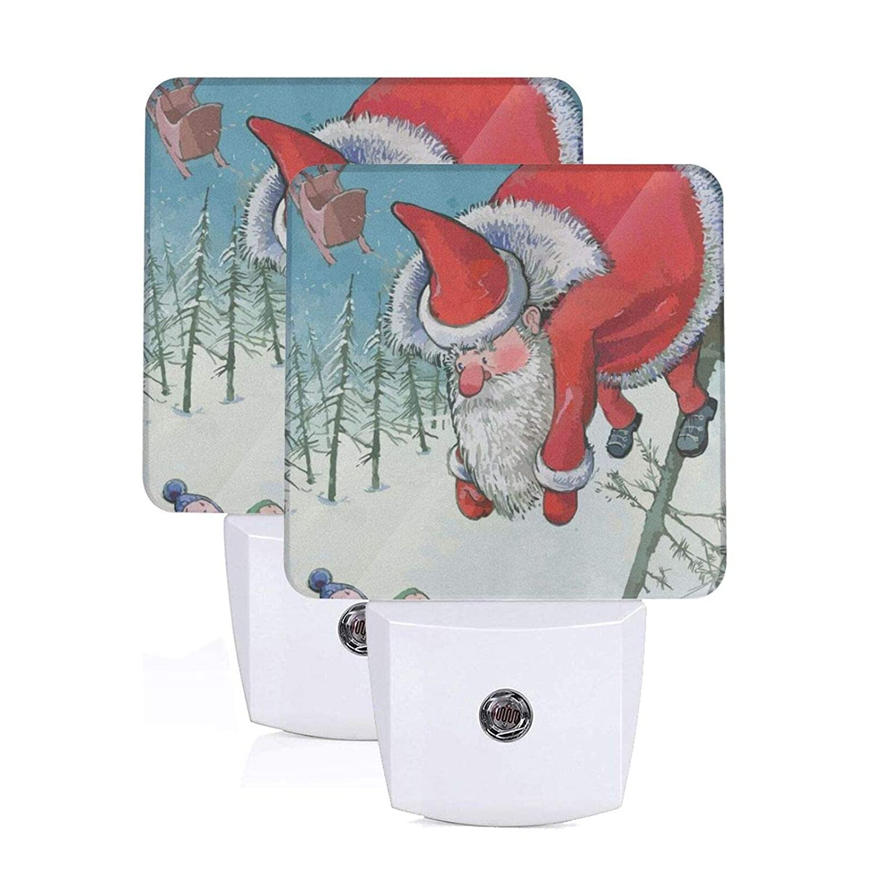 Night Light Set Of 2 Santa Claus Hanging On The Tree Auto Sensor LED Dusk To Dawn Night Light Plug Into Wall For Adults Kids Girls Boys Automatic Sensor Plugin Nightlight Children Safe Bedroom Bathroo
