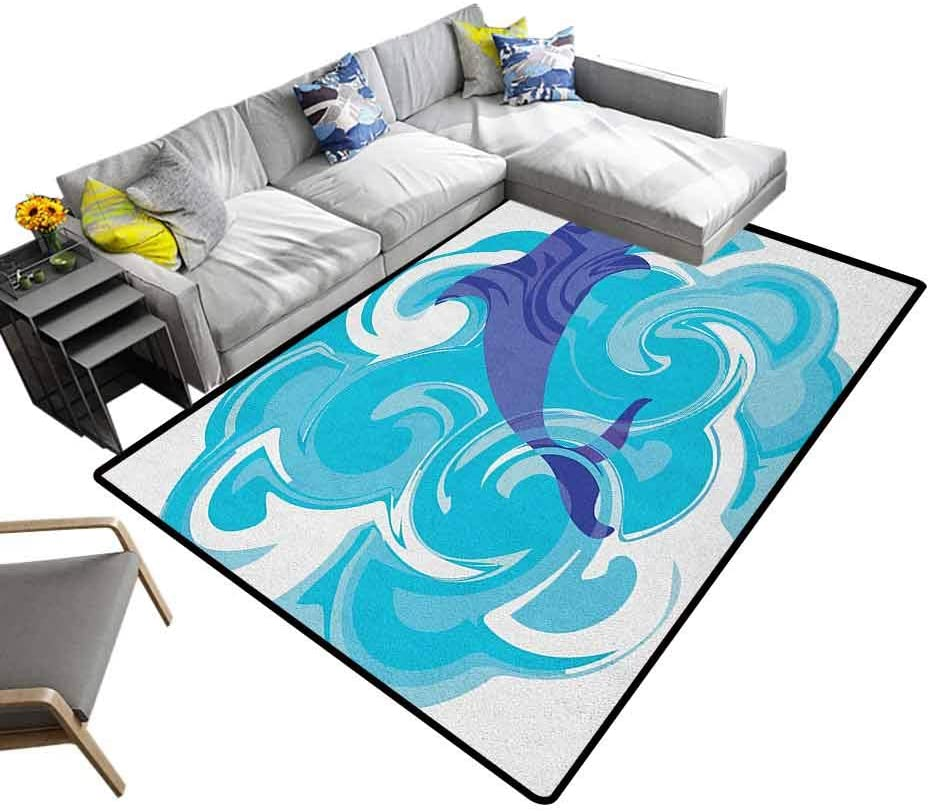 Home Decor Rugs Dolphin, Faux Fur Rug Bedside Rugs Abstract Representation of Waves Aqua Life Soft Color Image Nature Scenes Chic Pattern Anti-Static Violet Blue Sky Blue, 6.5 x 10 Feet