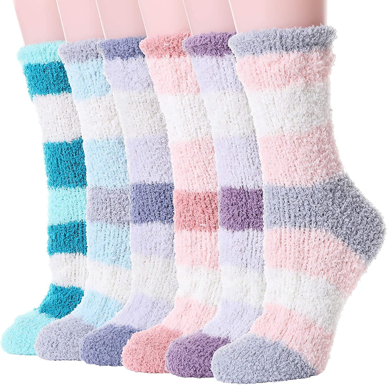 Womens Fuzzy Slipper Socks Cabin Warm Soft Novelty Cute Thick Winter Christmas Socks 6 Pairs