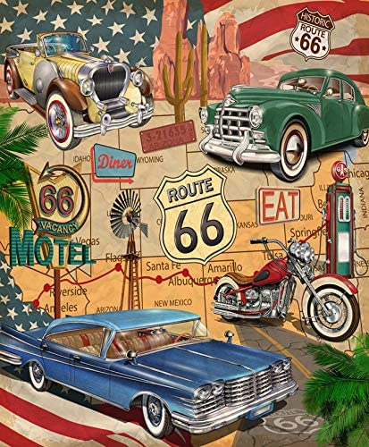 Vooft DIY 5D Diamond Painting Kits American Vintage Route 66 Diner Arizona Map Motorcycle 1950S Full Drill Painting Arts Craft Canvas for Home Wall Decor Full Drill Cross Stitch Gift 16X12 Inch