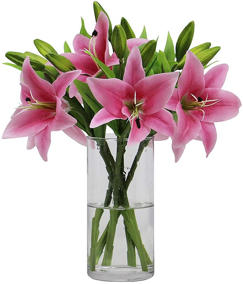 Omygarden 6pcs Pink Artificial Tiger Lily Flower, Fake Plastic Flowers, Home Office Wedding Party Thanksgiving Day Decoration