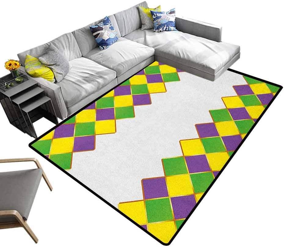Printed Area Rug Mardi Gras, Shag Fur Carpet Carnival Colored Grid Design Diamond Line Pattern Retro Framework for Living Room Kids Room Purple Lime Green Yellow, 6.5 x 10 Feet