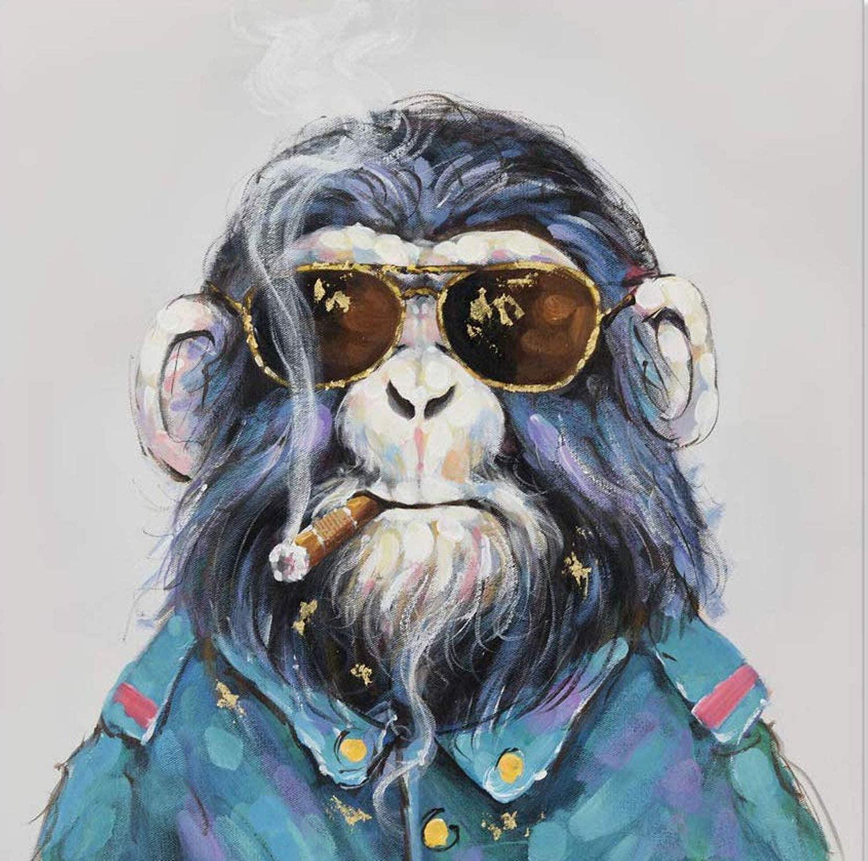 Animal Orangutan Smoking Diamond Painting Kits,Glasses Chimpanzee Paint with Diamond by Number Kits 5D Full Drill Rhinestone Embroidery Cross Stitch Wall Décor 12X12 inch
