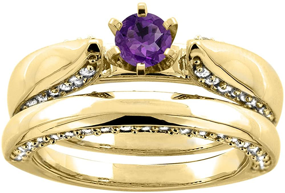 14K White Gold Natural Amethyst 2-piece Bridal Ring Set Diamond Accents Round 5mm, sizes 5 - 10