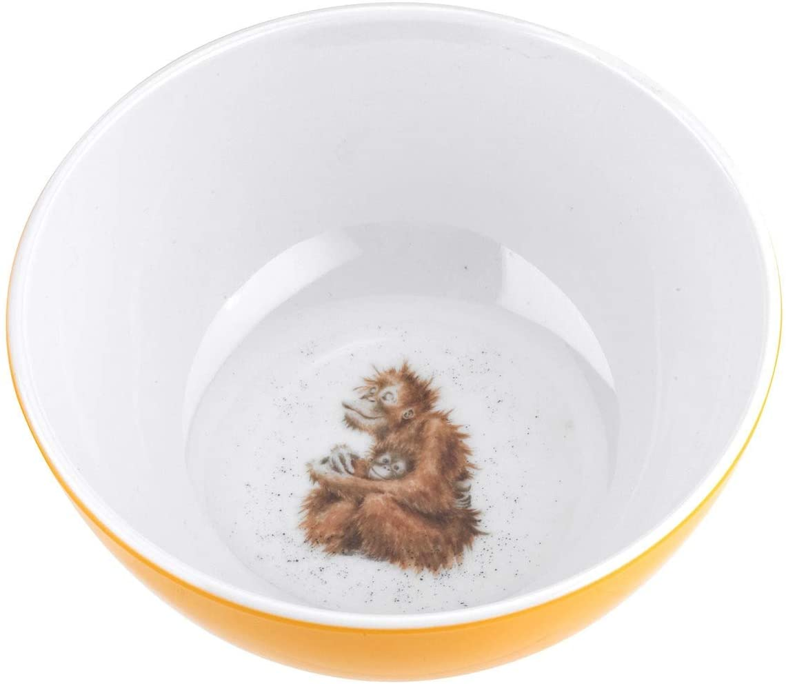 Royal Worcester Wrendale Designs- 6 Inch Orangutan Design Melamine Bowls - Set of 4- BPA Free- Dishwasher safe