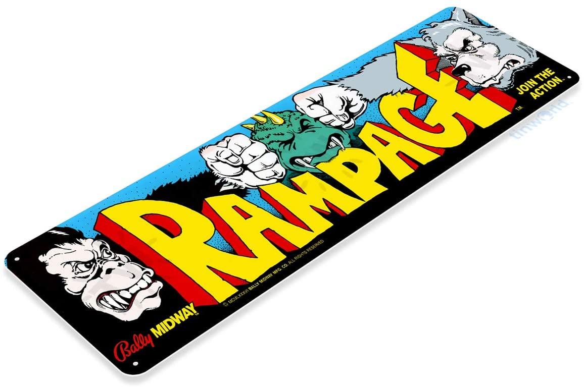 Tinworld TIN Sign C497 Rampage Arcade Game Room Shop Marquee Metal Sign Decor Decor Retro Console