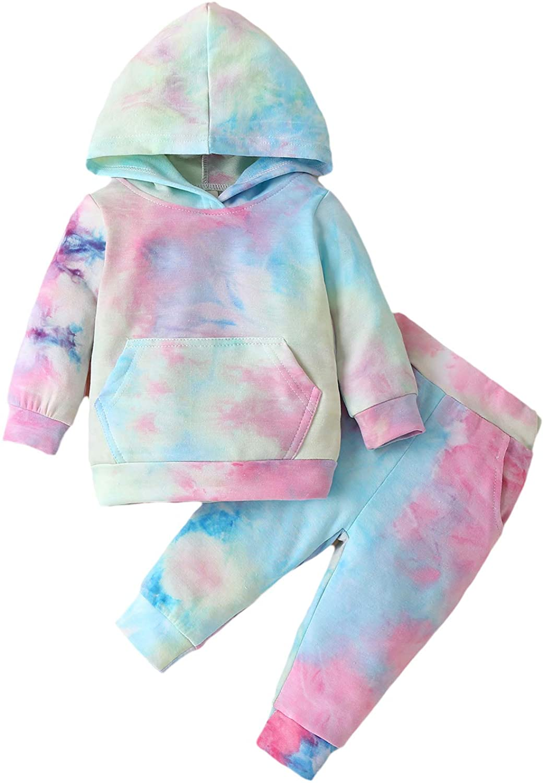Toddler Girl Tie Dye Hoodie Long Sleeve Sweatshirt Top Pants Velvet Fall Winter Clothes Tracksuit Set 2 Pcs