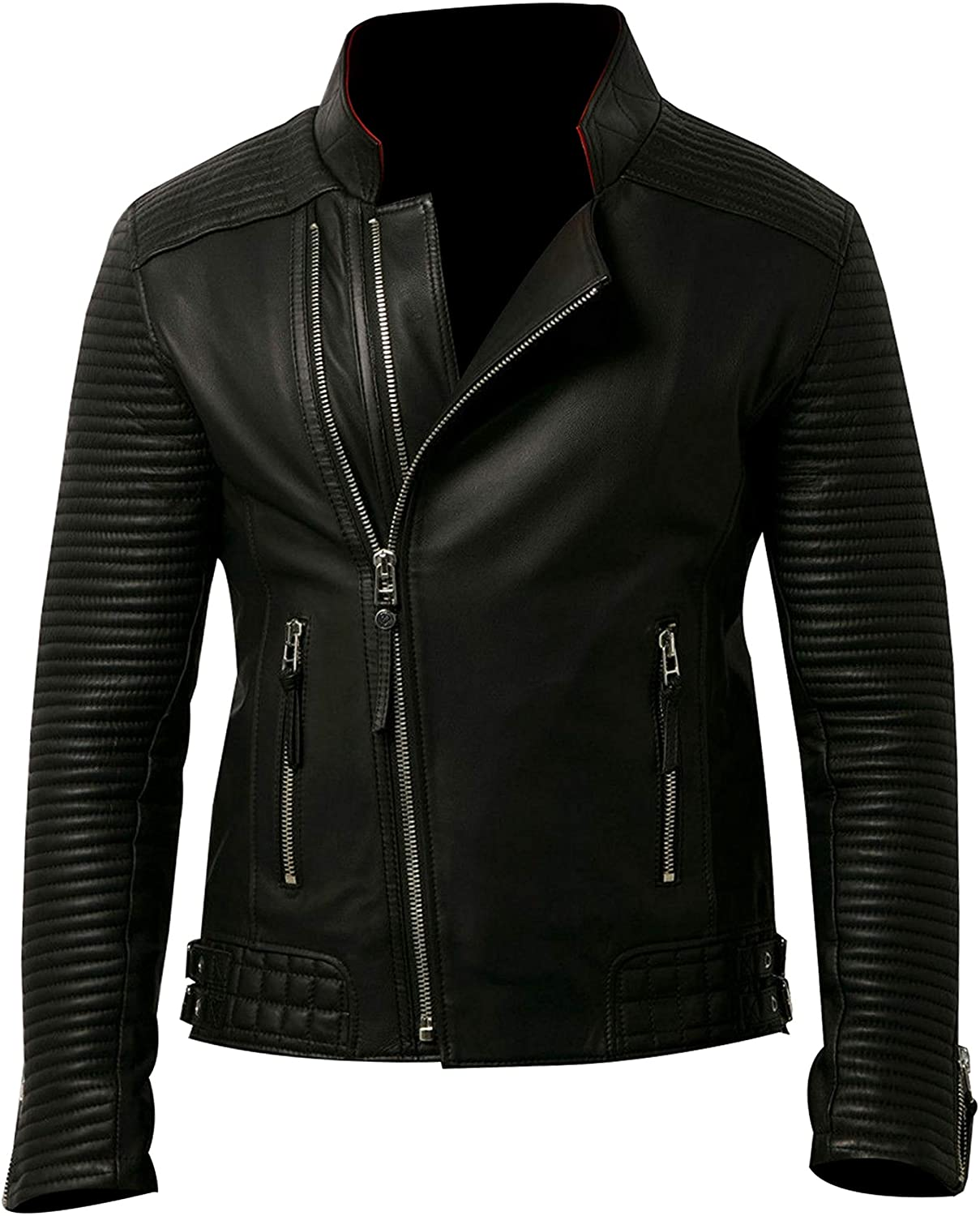 UGFashions Mens Brando Vintage Double Zipper Motorcycle Quilted Black Leather Jacket