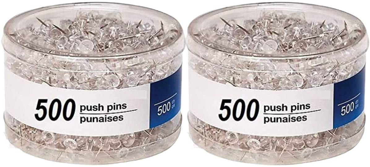 1InTheOffice Clear Push Pins, Steel Point, Clear Thumbtacks,Clear Push Pins for Cork Board 500 Pieces (Clear (1000 Pins)