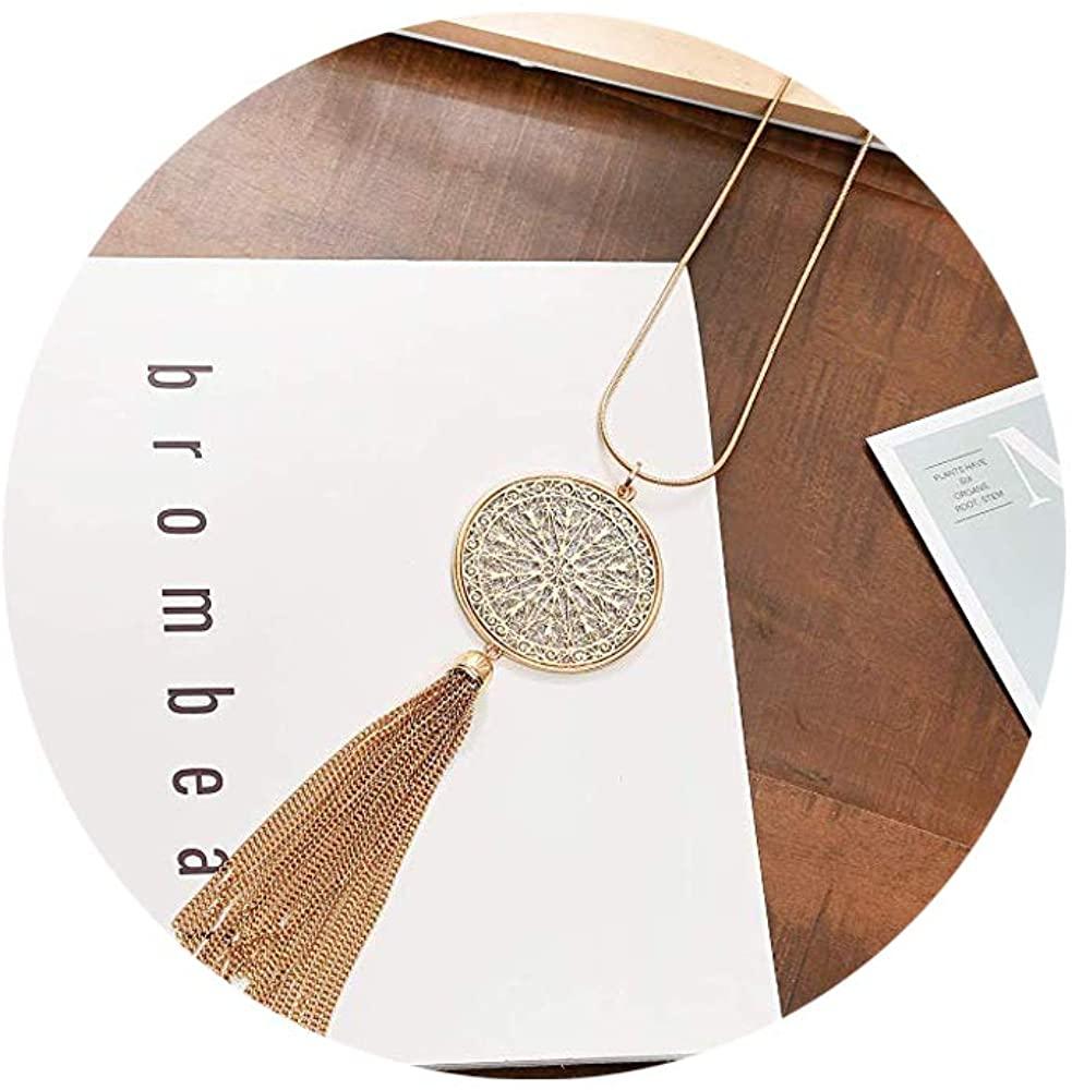 Joan Nunu Long Necklace for Women Disk Circle Pendant Necklaces Bohemia Tassel Necklace Set Fashion Y Necklaces Statement Jewelry