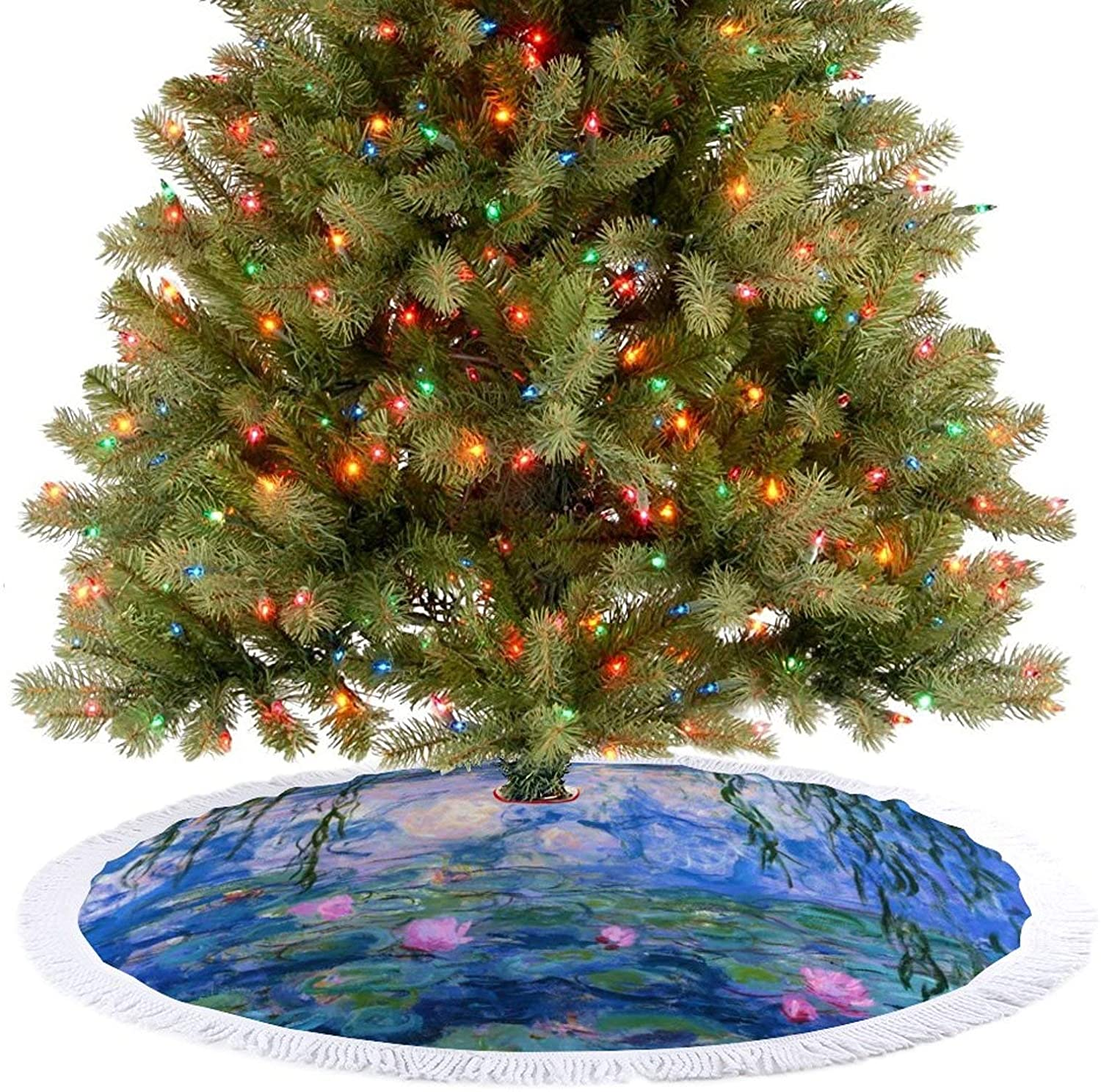 Amidaky Claude Monet's Water Lilies Christmas Tree Skirt for Christmas Holiday Party Decoration Indoor and Outdoor 36''×36''