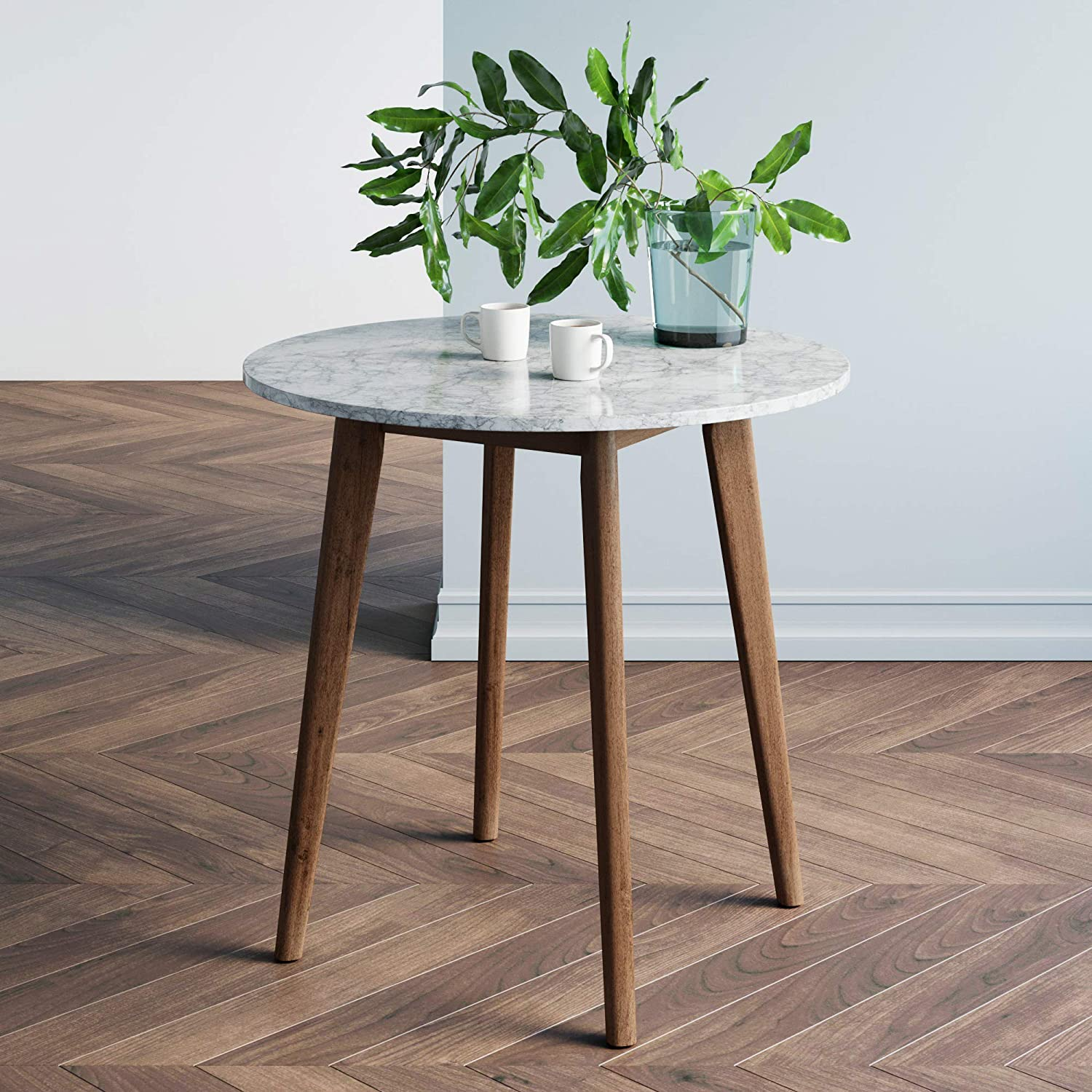 Nathan James Amalia Round Marble Bistro Dining Table with Legs in Wood Finish and Faux White Carrara Marble Table Top, Antique Coffee
