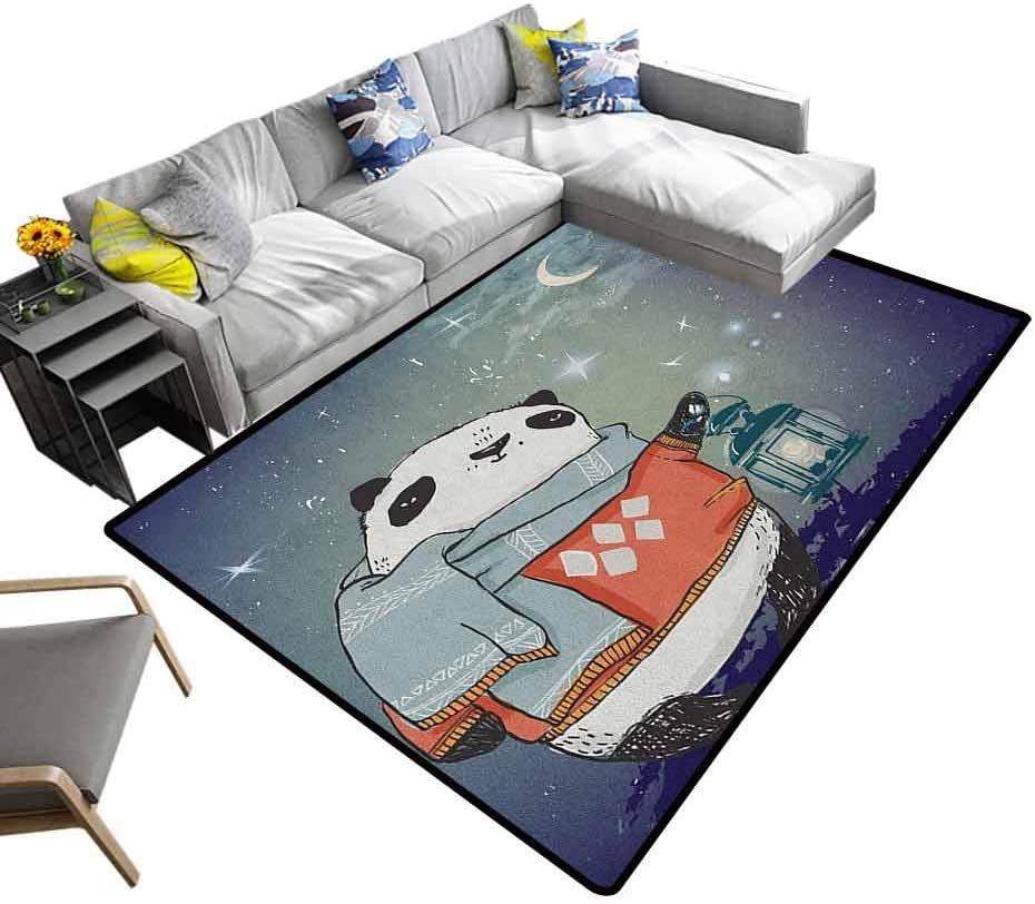 Printed Area Rug Kids, Modern Indoor Home Living Room Floor Carpet Panda Bear with a Scarf Outside in The Starry Winter Night Looking Artwork for Living Room Kids Room Multicolor, 6 x 9 Feet