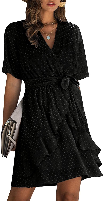 MsLure Women's Chiffon V Neck Ruffle Mini Dress Wrap Tie Waist Sundress