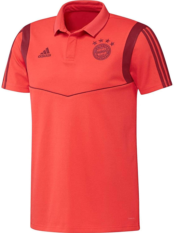adidas 2019-2020 Bayern Munich Cotton Polo Football Soccer T-Shirt Jersey (Red)