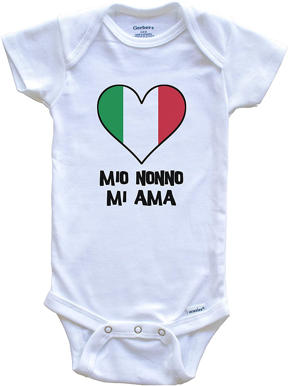 My Grandpa Loves Me Italian Language Italy Flag Heart Baby Onesie - Mio Nonno mi AMA