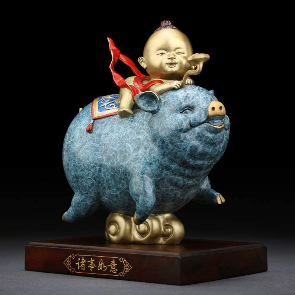 XH&XH Lucky Pig Statue Gifts Pig Figurine Animal Sculpture Table Decor Chinese Zodiac Ingots Gifts Blue 8.3 inch