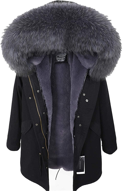 Real Raccoon Fur Collar Coat Women's Clothing Long Thick Warm Coat 2 S